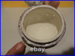 Majolica Tobacco Humidor Antique Jar Man Wearing Cap