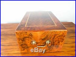 Mannings Of Ireland Humidor Wooden Cigar Burlwood Veneer Case Man Cave Decor