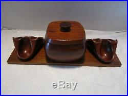 Mid Century Teak Wood stand rack HUMIDOR with6 PIPE REST 14 ½ W. ITALY RO-EL Vtg