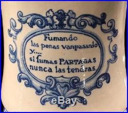 ORIGINAL PARTAGAS Tobacco PORCELAIN Blue CIGAR Havana HUMIDOR JAR Cuba 1920s