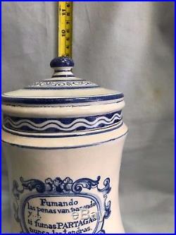 ORIGINAL PARTAGAS Tobacco PORCELAIN Blue CIGAR Havana HUMIDOR JAR Cuba 1920s RRR