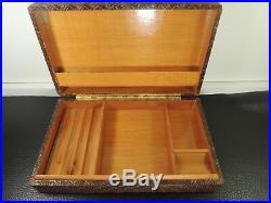 Old Rare Leather & Wooden Cigar Cigarette Case-humidor Austria