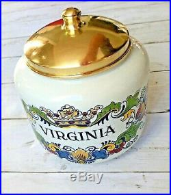 Original Delft Royal Goedewaagen Polychroom Handwerk VIRGINIA TOBACCO JAR withSeal