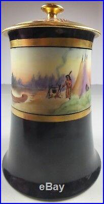 Outstanding Artist Signed Porcelain Humidor Native American Scene Limoges Mark