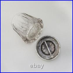 Pipe Finial Tobacco Humidor Cut Glass Silverplate 1890