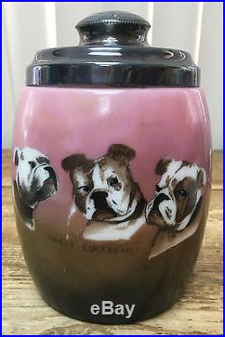 Pipe Humidor Paint Milk Glass ESA Three Guardsmen Bull Dogs Antique RARE Tobacco