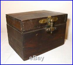 Quality antique 1800's handmade wood brass Eastlake cigar humidor holder box