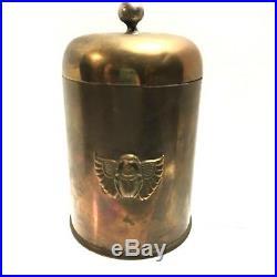 RARE Antique Egyptian Cigar Humidor Karnak Brass Scarab Beetle Benedict 622