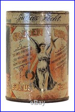 Rare 1901 Golden Rule litho 25 humidor cigar tin in fair condition