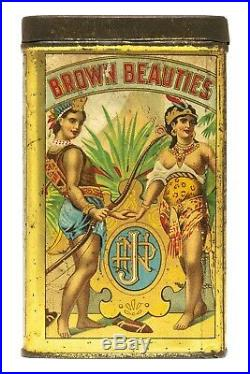 Rare 1910s Brown Beauties litho 25 cigar humidor tin in good condition