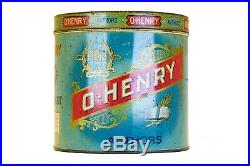Rare 1910s O Henry litho 50 cigar humidor tin in fair condition