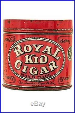 Rare 1921 Royal Kid litho 50 cigar humidor tin in good condition