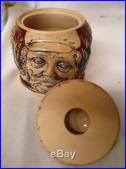 Rare 19C Majolica Humidor Tobacco Leaf Jar German 554 Pipe Smoker's Faces Cigar