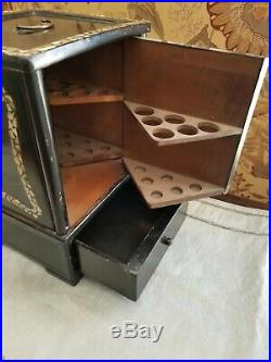 Rare Antique Lacquer Mother of Pearl Abalone Cigar Humidor Box Cabinet