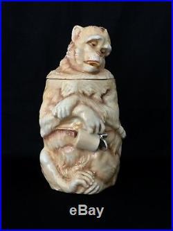 Rare Antique Schierholz Sgnd, Musterschutz Tobacco Jar Of Drunken Monkey