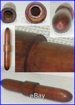 Rare Antique Vintage Turned Wood Tube Cigar Case Cigar Humidor Cigar Holder 8