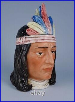 Rare Antique c1900 Native American Indian Chief German Majolica Pottery Humidor