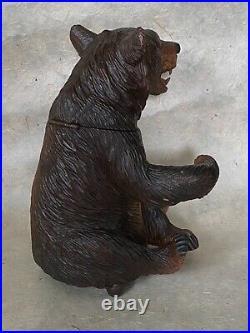 Rare BEAR TOBACCO JAR MUSIC BOX Black Forest Figural Wood Carved Humidor c. 1950