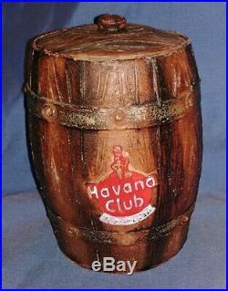 Rare Havana Club Pottery Clay Barrel Lidded Container Tiki Mug Bar Cigar Humidor