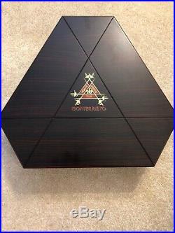 Rare Montecristo Beautiful Wooden Cigar Box Humidor 6 Sided Hinged Lid Wood