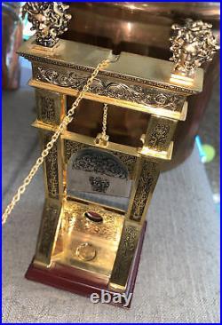 Rare Vintage Guillotine Cigar Cutter Brass / Gold Tone Medusa Head Humidor