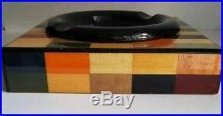 Rare Vtg Large Ercolano 10 Square Inlaid Wood Cigar Humidor Ashtray FreeUShip