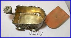 Rare antique figural brass cigar humidor oil lamp store lighter ashtray box cart