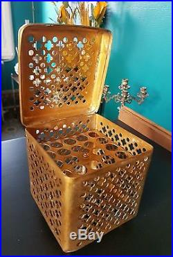 Rare french 1900 brass cigar humidor perfume box art deco boudoir Paris décor