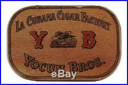 Rare1917 Yocum litho 50 cigar oval hinged humidor tin in very good condition