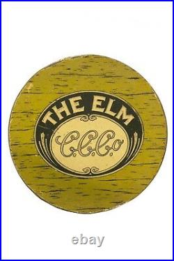 Rare1920s The Elm litho 50 cigar humidor embossed tin in good condition