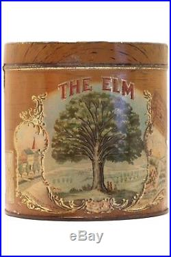 Rare1920s The Elm litho 50 cigar humidor embossed tin in very good condition