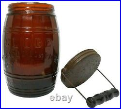 SCARCE LATE 19TH C GLOBE 1882 ANTIQUE TOBACCO HUMIDOR WithAMBER GLASS BODY/TIN LID