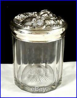 STERLING Silver lidded Vintage Cigar Tobacco Jar Floral HumidorW monogram