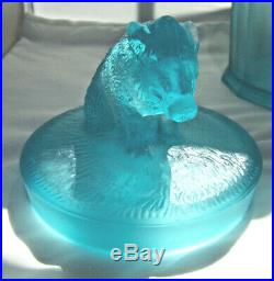Satin Blue Glass Humidor with Boar on Lid by American Tobacco Company