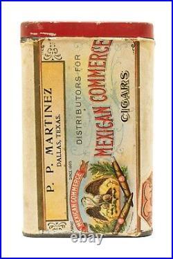 Scarce 1910s paper label Mexican Commerce humidor 25 cigar tin, v. Good cond