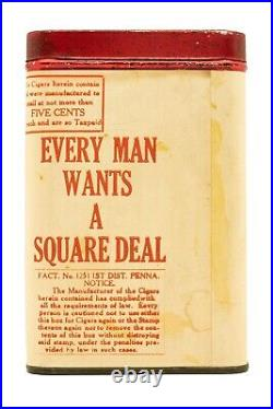 Scarce 1910s paper label Square Deal 25 cigar humidor tin in exc condition