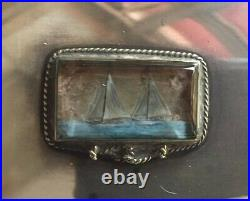 Sterling Silver Abercrombie & Fitch Sailing Ships Humidor Made in England 7x3.5