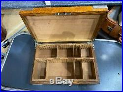 Superb Army & Navy Hallmarked Silver & Oak Campaign Cigar Humidor Desk Box C1897