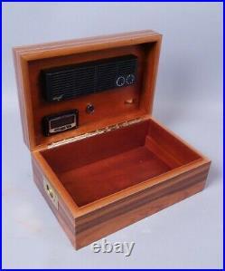 Superb Swiss Davidoff Wooden Rosewood Cigar Humidor w Brass Campaign Handles