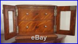 Superb antique Tiger Oak Cigar Humidor Smoking Cabinet, beveled glass, key