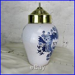 Tobacco Jar Humidor Canister Ceramic Porcelain Delft Blue White Toeback Vintage