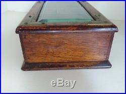 Unique Antique Oak Cigar Box Tobacco Humidor With Beveled Glass & Brass Trim