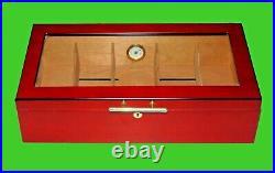 Used Big Display Cigar Humidor, Cedar Wood Plexiglass & 10 Cutters FREE