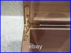 Used Cigar Humidor Wood Cedar Storage Case Box Humidifier Hygrometer Key Netting