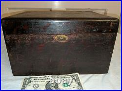 VINTAGE COPPER LINED SOLID WOOD HUMIDOR With WEIGHTED PLATE