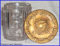 VINTAGE PRESSED GLASS HUMIDOR TOBACCO JAR with BRASS LID & NATURAL SPONGE