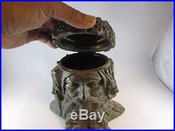 VINTAGE rare circle 1900 cigar Tobacco Jar holder Humidor face scholar Arab man