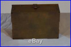 VTG Cedar Brass Humidor Cigar Box Lidded Tobacco Case Elephant Bradley Hubbard