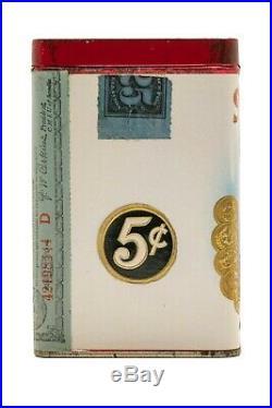 Very rare 1920 Seminola paper label 25 cigar humidor tin in near mint cond