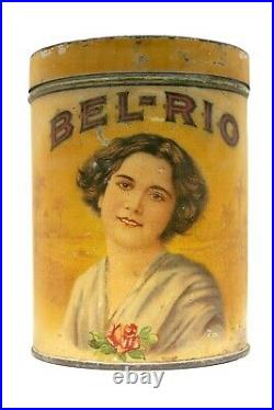 Very scarce 1910s Bel-Rio round litho 25 humidor cigar tin in good condition